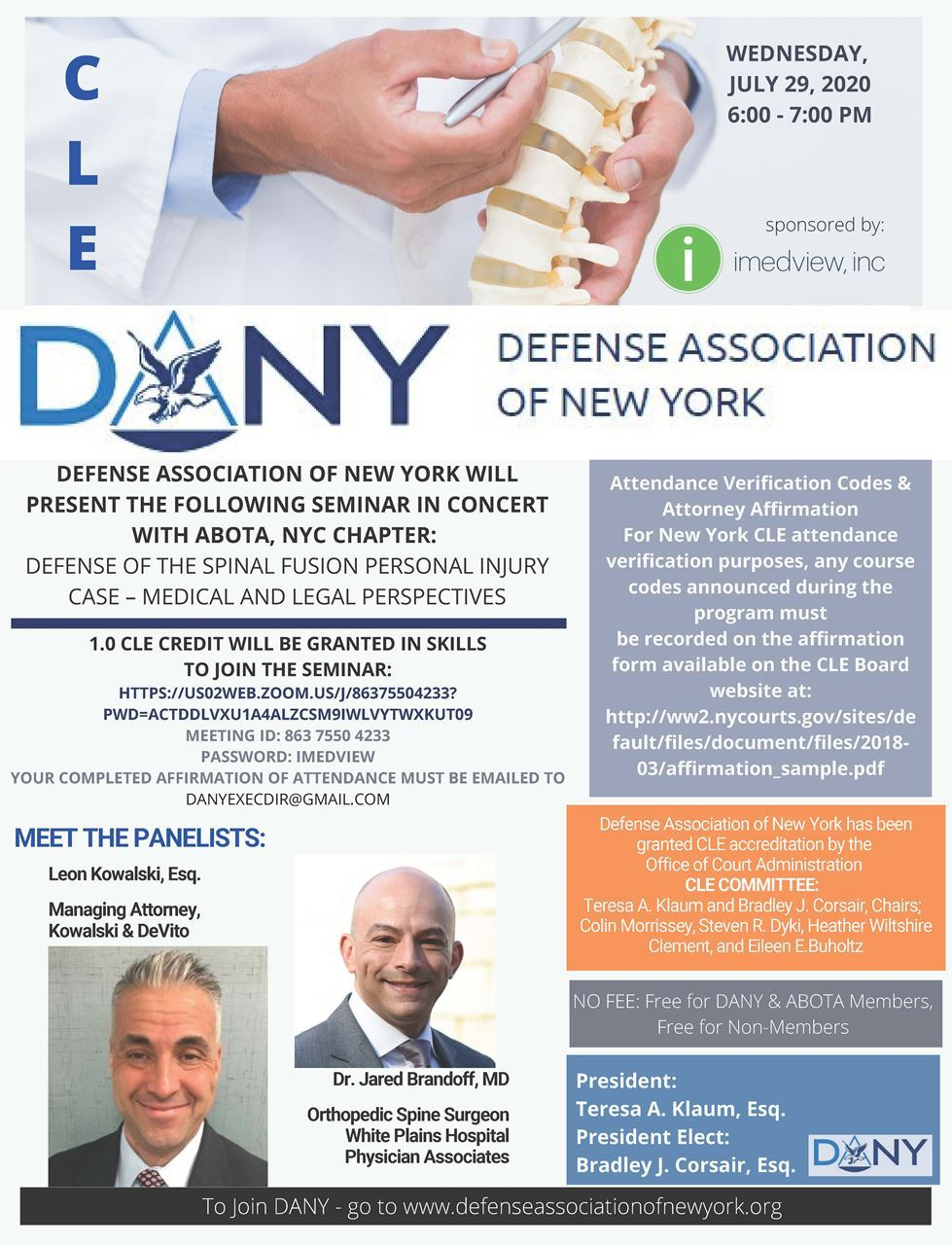 CLE flyer - defense of the spinal fusion personal injury case
