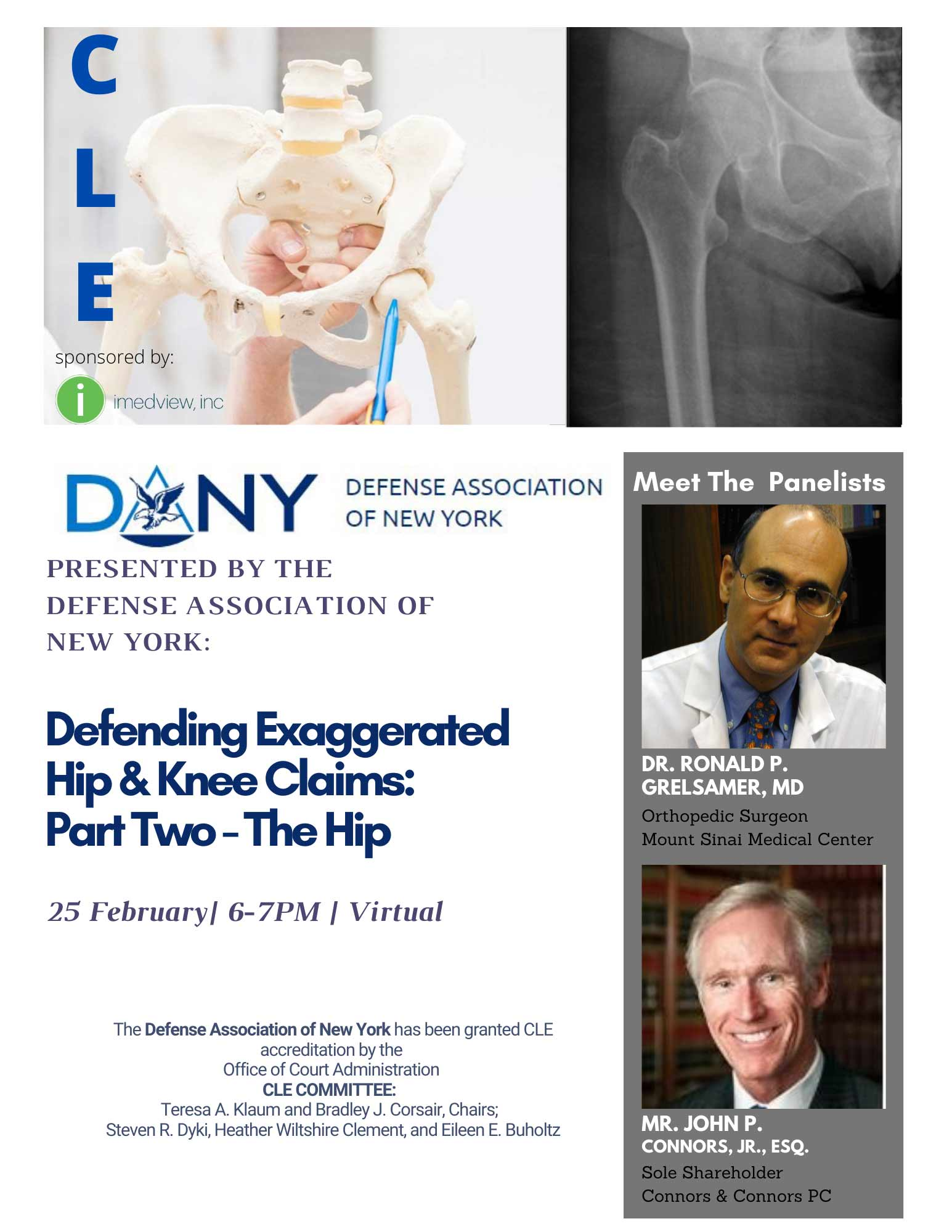 DANY Defending Exaggerated Hip & Knee Claims- Part Two - The Hip, 25 February _ 6-7pm _ Virtual